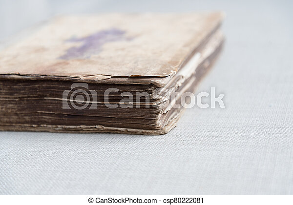 A very old close-up book. Details of the 18th century Bible. - csp80222081