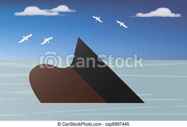 a vessel of crude oil sinking into the sea - csp6997445