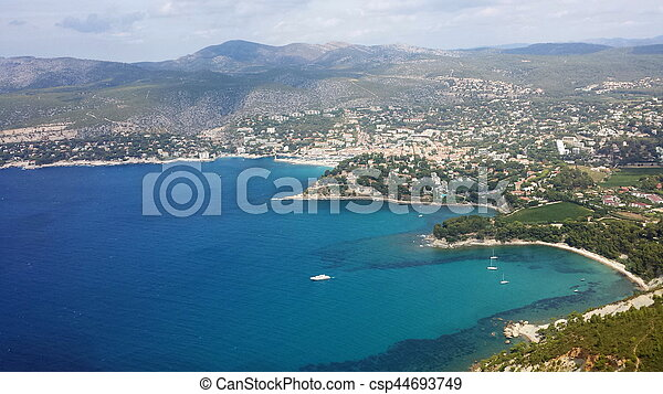A view from the top of a mountain in Marseille - csp44693749