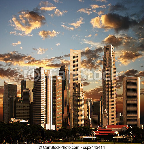 A View of Singapore City - csp2443414
