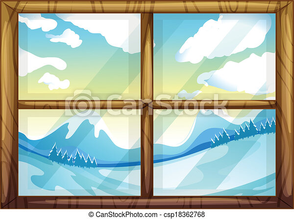 A view of the winter from the window - csp18362768