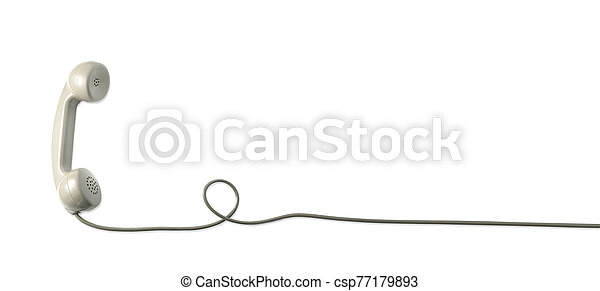 A vintage dial telephone handset with white background. - csp77179893