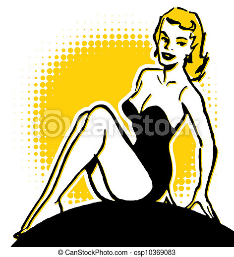 a vintage pin up girl stock illustration search eps clip art rh canstockphoto com Pin Up Girl Silhouette Pin Up Girl Silhouette