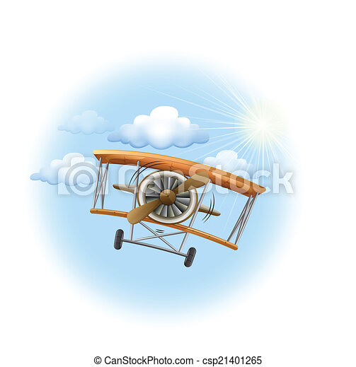 A vintage propeller-powered aircraft in the sky - csp21401265