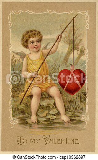 A vintage Valentines Day card with a cupid fishing a heart