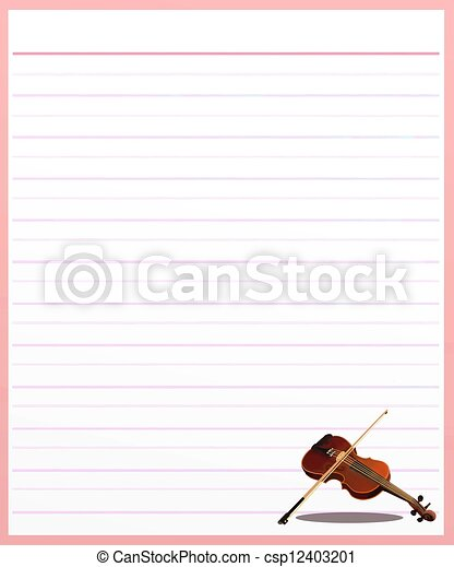 A Violin On Pink Color Lined Paper Stock Illustration  Color Lined Paper
