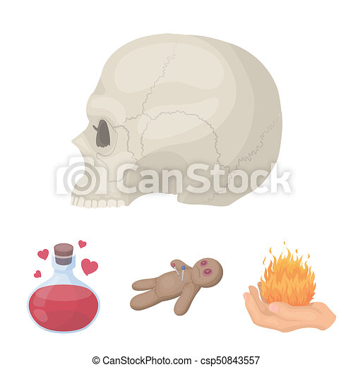 A Voodoo Doll A Magical Fire A Love Potion A Skull Stock