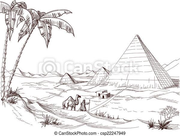 A walk in the desert sketch - csp22247949