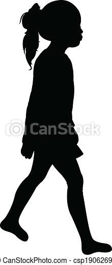a walking girl silhouette vector  - csp19062698