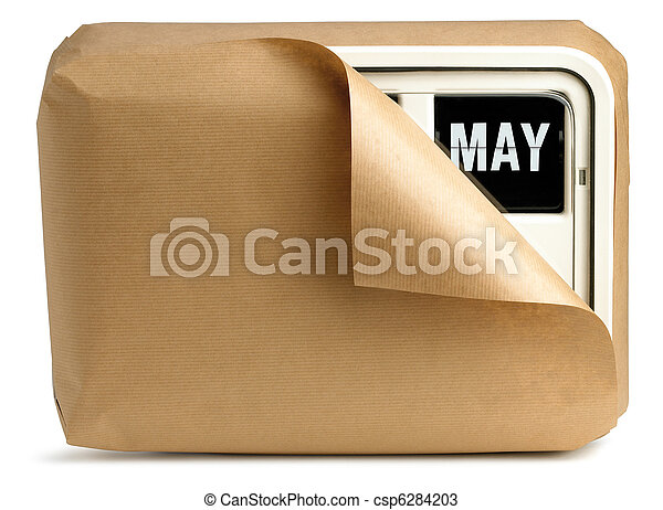 a wall clock and calendar wrapped in brown paper isolated on a white background showing May - csp6284203