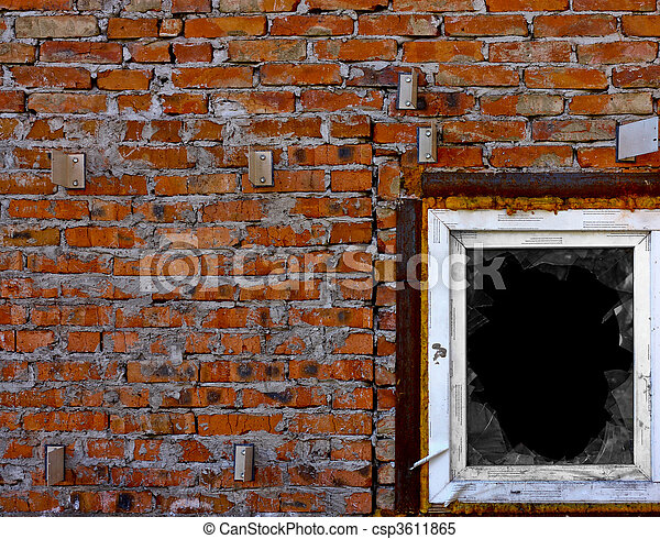 A wall with broken window - csp3611865