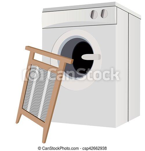 A washing machine and a washboard - csp42662938