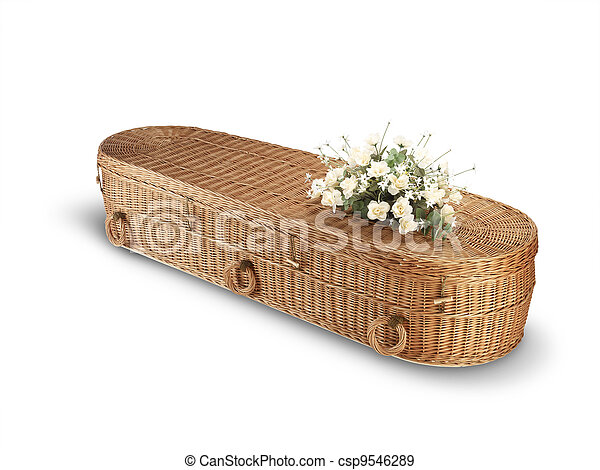 a wicker bio-degradable eco coffin isolated on white - csp9546289