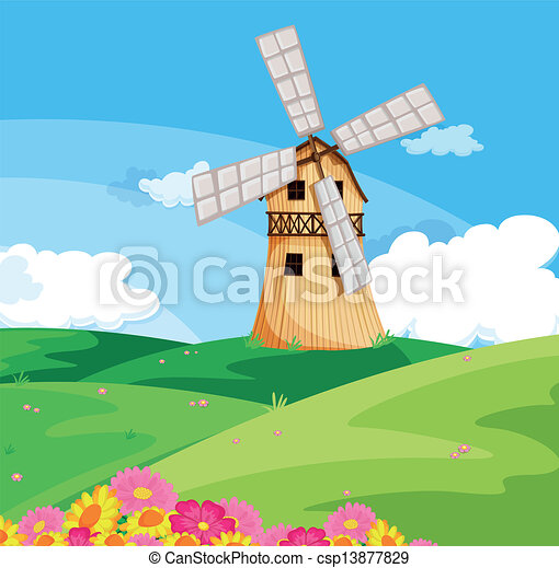 A windmill above the hill - csp13877829