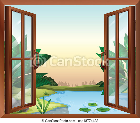 A window near the pond - csp18774422