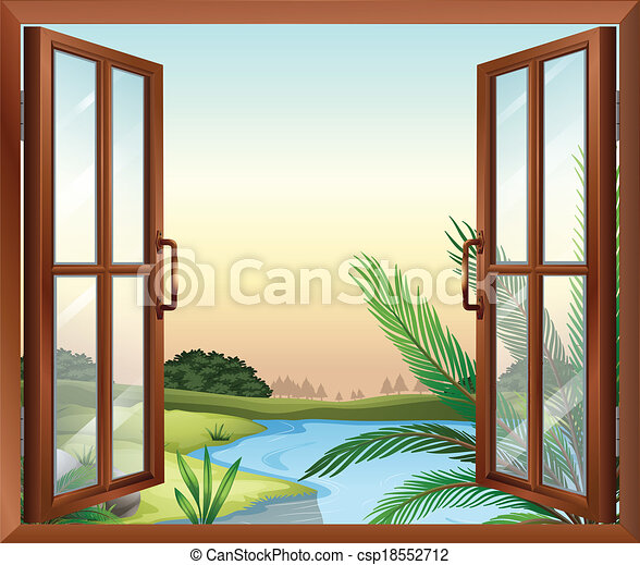 A window overlooking the view of nature - csp18552712