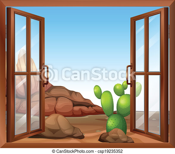 A window with a cactus - csp19235352