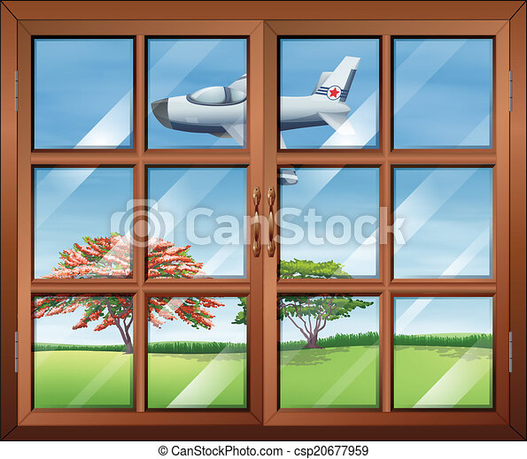 A window with a view of the airplan - csp20677959