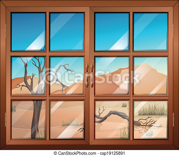 A window with a view of the desert - csp19125891