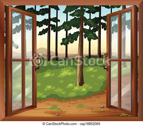 A window with a view of the trees - csp18852065