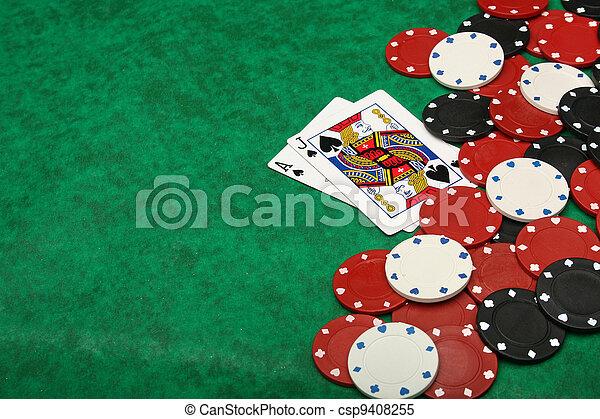 A winning blackjack hand with gambling chips - csp9408255