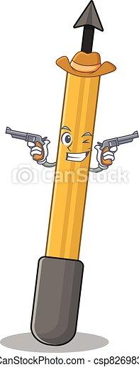 A wise cowboy of snorkeling arrow Cartoon design with guns - csp82698363