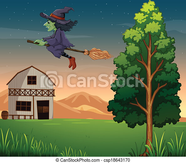 A witch at the farm - csp18643170