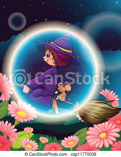 a witch flying on broom - csp11770036