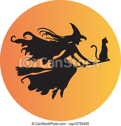 A Witch on Broomstick - csp15755455
