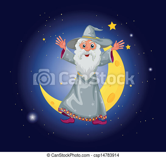 A wizard floating near the moon - csp14783914