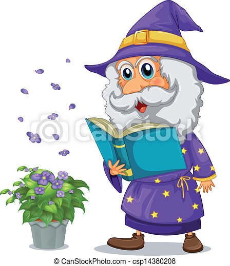 A wizard holding a book beside a pot with plant - csp14380208