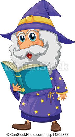 A wizard holding a book - csp14205377