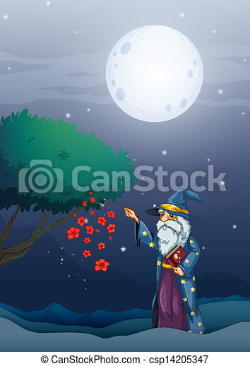 A wizard holding a magic book and a wand - csp14205347