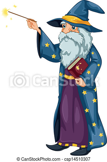 A wizard holding a magic wand and a book - csp14510307