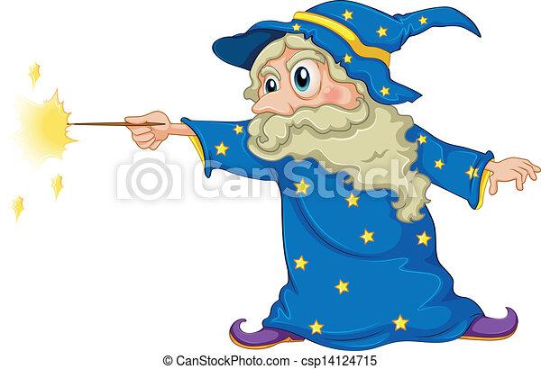 A wizard holding a magic wand - csp14124715