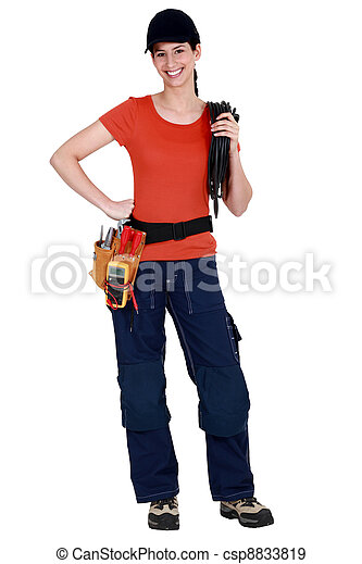 A woman electrician. - csp8833819