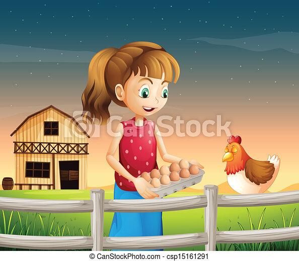 A woman holding an eggtray with eggs near the fence - csp15161291