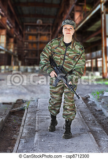 A woman in military operation - csp8712300