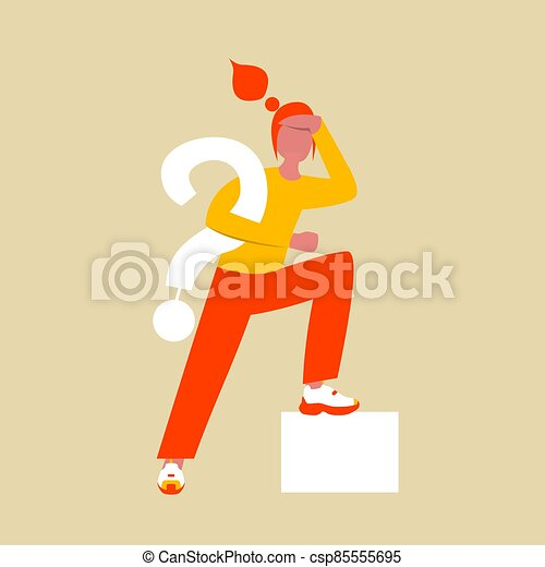A woman in search of an answer to a question. Flat female character with large question symbol in hand. Vector illustration. Eps 10. - csp85555695