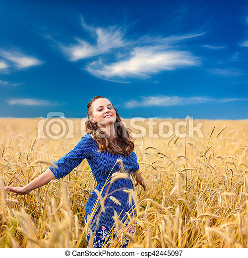 A woman in the meadow - csp42445097
