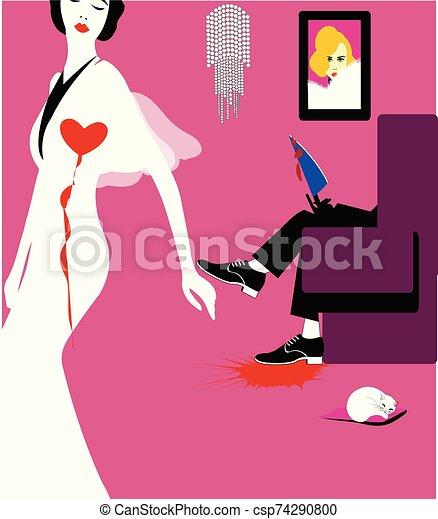 a woman suffering form being heart broken - csp74290800