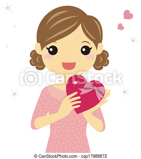A woman with valentine heart - csp17988872