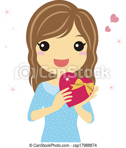 A woman with valentine heart - csp17988874