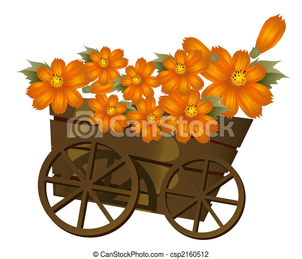 A Wood Trolley And Flower A Group Of Orange Flower In A Clip
