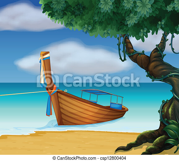 A wooden boat at the seashore. Illustration of a wooden ...