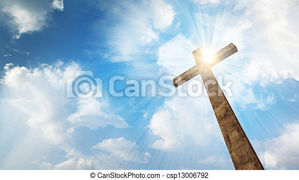 A wooden cross with sky - csp13006792