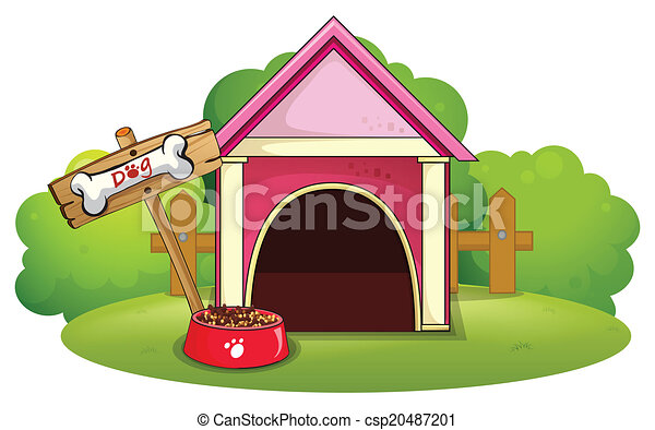 A wooden doghouse at the yard - csp20487201