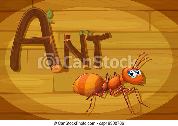 A wooden frame with an ant - csp19308786
