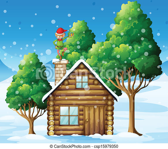 A wooden house with an elf at the top - csp15979350