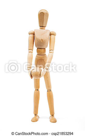 A wooden Mannequin isolated on white background - csp21853294
